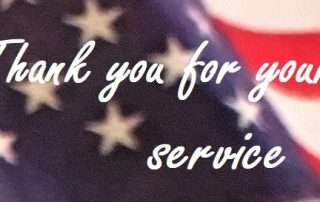 thank you for your service written across USA flag in background
